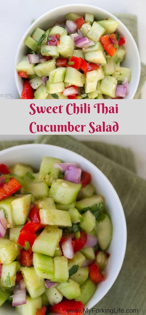 Sweet Chili Thai Cucumber Salad. Perfect healthy salad. Light and refreshing salad. Great Thai flavor. Vegetarian. Vegan.