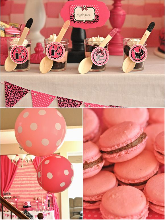 Pink & Black Glam Baby Shower from @The Creative Team Juice #desserttable #babyshower #parties