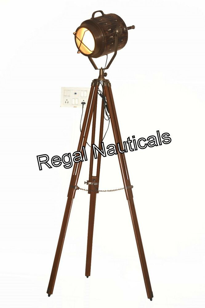 Vintage Antique Floor Searchlight With Brown Tripod Stand Living Room Antique Brass Floor Lamp Antique Flooring Tripod Floor Light