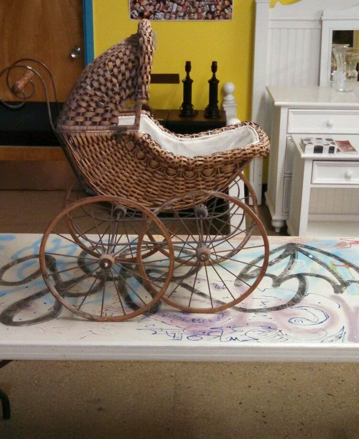 Antique Victorian Wicker Baby Doll Pram Stroller Carriage