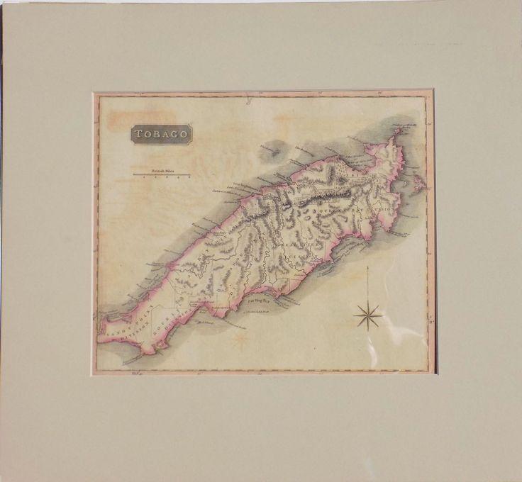 "Map of Tobago, 1816 Original engraving of Tobago, West Indies, Caribbean, by John Thomson 1816. Dimensions: 16"" x 17 1/2"""