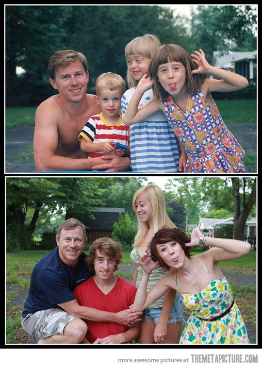 It all goes by too quickly..... reenact old photos :) This is a must!! I just happened to do something very similar with a picture I had of my kids from when they were a baby, 1 year old and five years old, to a few years ago when they were 23, 24 and 29!