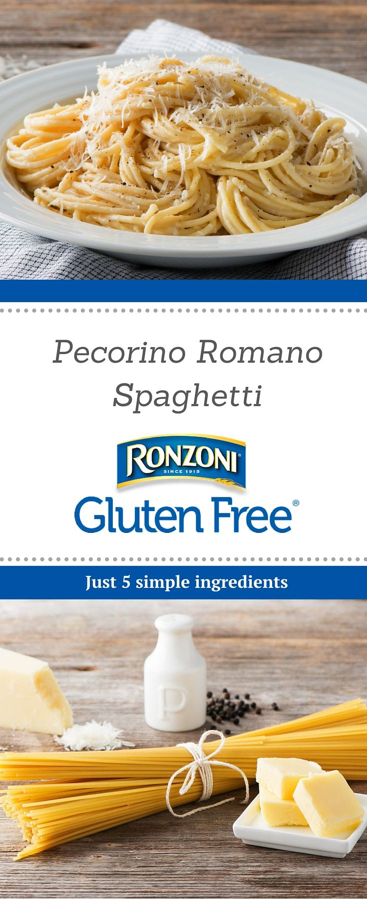 Put spaghetti back on the menu with this delicious Pecorino Romano recipe from Ronzoni Gluten Free pasta. You won't believe it's gluten free!