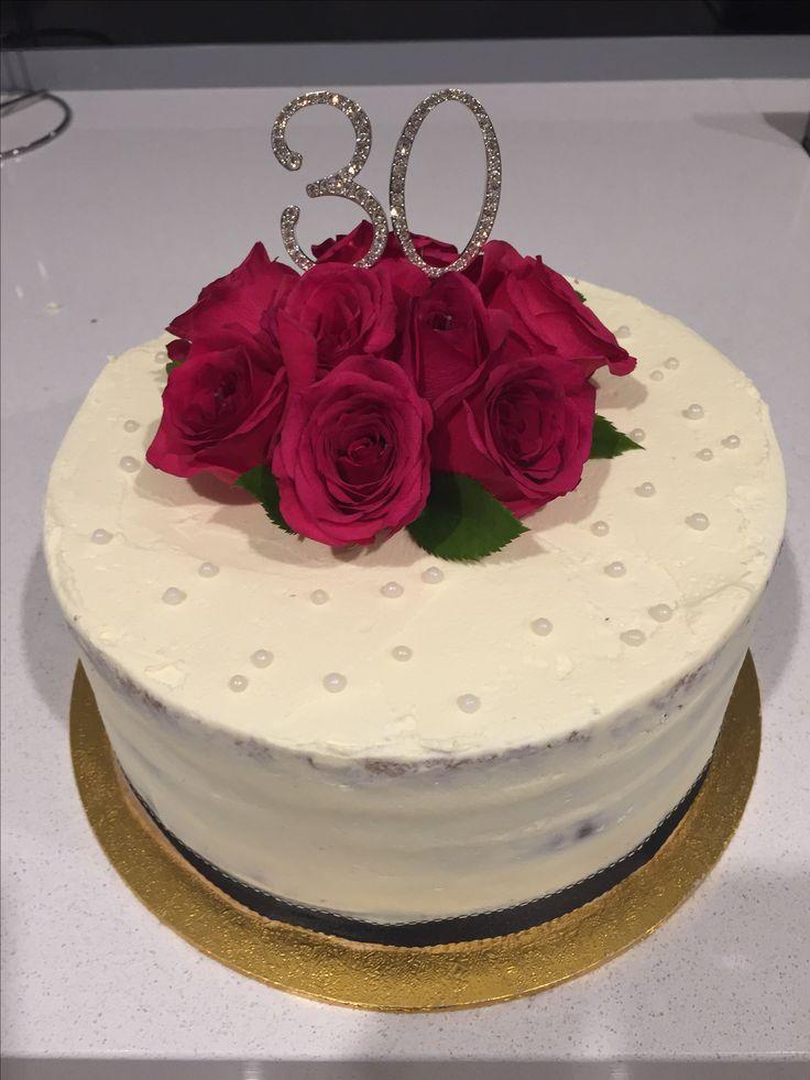 30th birthday semi naked cake with fresh roses