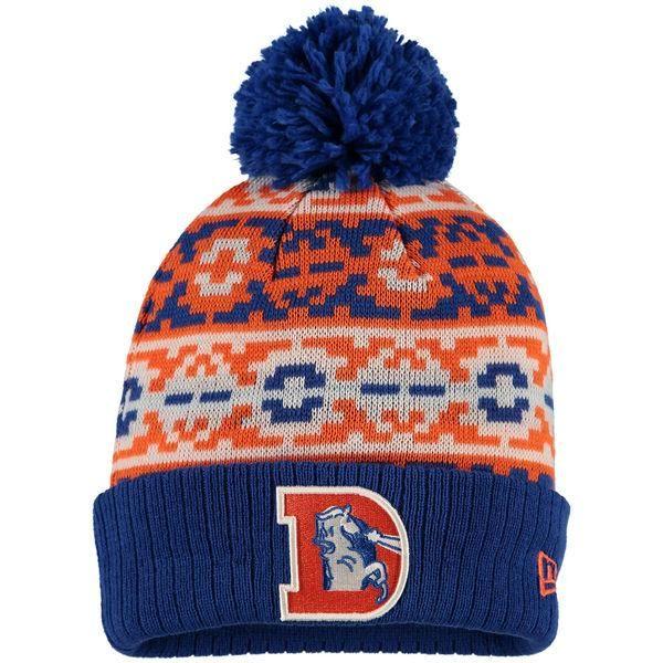 Mens/Womens Denver Broncos New Era Fashion 2016 Royal Retro Chill Cuffed Knit Pom Beanie Cap - Orange / Royal