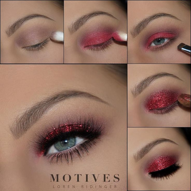 """We're loving @LadyGaga's Red ensemble at #SB50 especially for a bold Valentine's Day #makeup look! And always giving us the best easy to follow #glam tutorials is our girl @theamazingworldofj with her Get The Look a la """"Lady Gaga"""" STEPS: 1. Begin by applying Motives Eye Base all over the lid. 2. Apply Motives Pressed Eye Shadows in: Summer Fling as a transition shade Chocolight to darken the outer v Rock Candy on the lid 3. Carefully pat Red Glitter on the lid (try with other shades of…"""