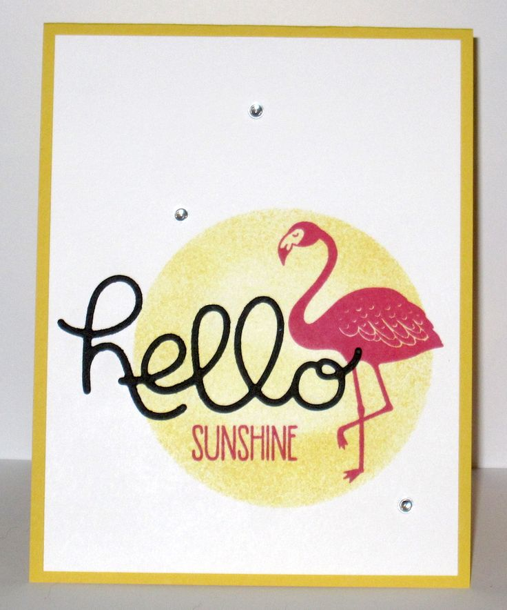 Card by Christy Lynn/Snapdragon Stamps (072816)  [Stampin' Up! (dies) Hello You Thinlits, Layering Circles Framelits; (stamps) Pop of Paradise, Sunshine Sayings]