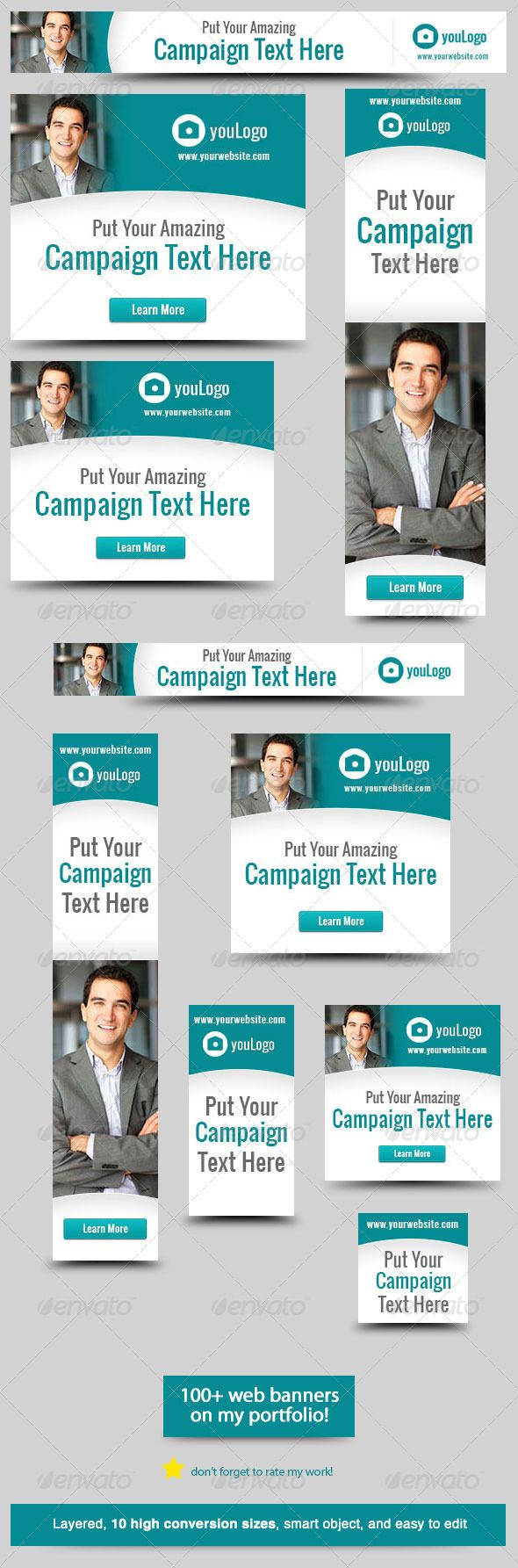 Corporate Web Banner Design Template 28  #GraphicRiver        Green Campaign – Banner Design Template Cool and clean corporate business web banner Web Banner sizes These are the banner sizes that will give you high rate of conversion    leaderboard (728×90)   banner (468×60)   button (125×125)   small square (200×200)   wide skyscraper (160×600)   skyscraper (120×600)   vertical banner (120×240)   large rectangle (336×280)  Ad Sizes for Mobile Ads   square (250×250)