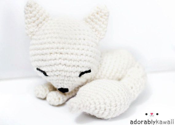 kawaii white sleepy fox amigurumi plush doll toy - MADE TO ORDER on Wanelo