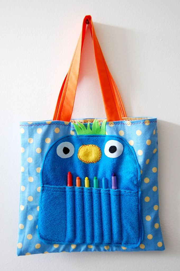cute monster tote- we could make them as Christmas gifts for the nephews!