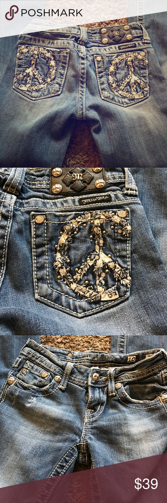 Miss Me peace sign jeans Miss Me brand boot cut jeans/ adorable crystal embellished peace signs /size 10 Miss Me Bottoms Jeans
