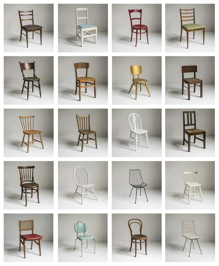 A selection of my collection of cheap or found chairs