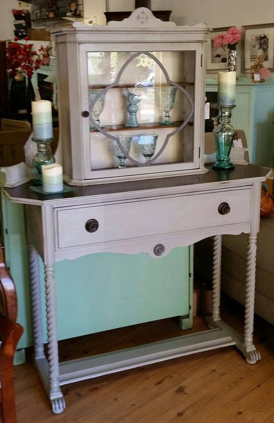 Look what you can do with #DixieBellePaint. #ChalkPaint is super easy and doesn't have to be expensive to be good. DBP in Driftwood for this old spindle-leg server, with just a touch of Hurricane Gray to highlight special areas. Created by Rita Roy