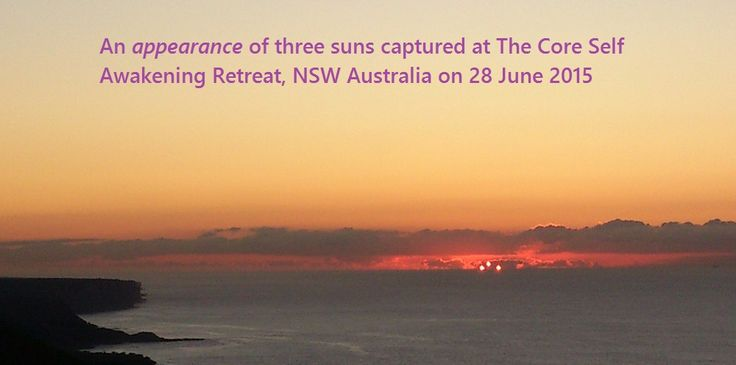 The clouds created an appearance of 3 suns at our last retreat. We walk to the lookout just 1 km away to watch the sunrise every morning.
