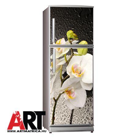 Fehér orchidea hűtőszekrény mágnes matrica hűtőmatrica