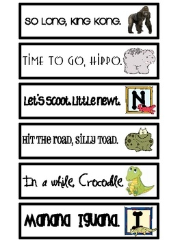cute ways to say goodbye and they rhyme!  New ones I haven't seen before.