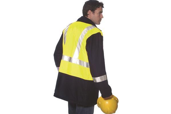 Huski Hi Visibility Wool Blend Jacket Coat Workwear 3M Tape Yellow Navy New