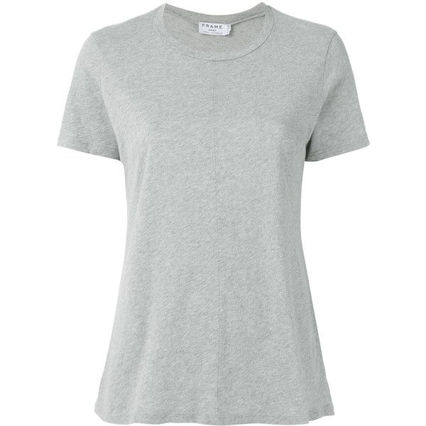 Frame Denim Plain T-shirt ($126) ❤ liked on Polyvore featuring tops, t-shirts, cotton tees, white cotton tee, white top, cotton t shirts and white t shirt