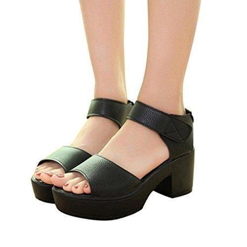 Oferta: 9.59€. Comprar Ofertas de Vovotrade Mujeres del pío de la plataforma de tacón alto sandalias de gladiador (39, Negro) barato. ¡Mira las ofertas!