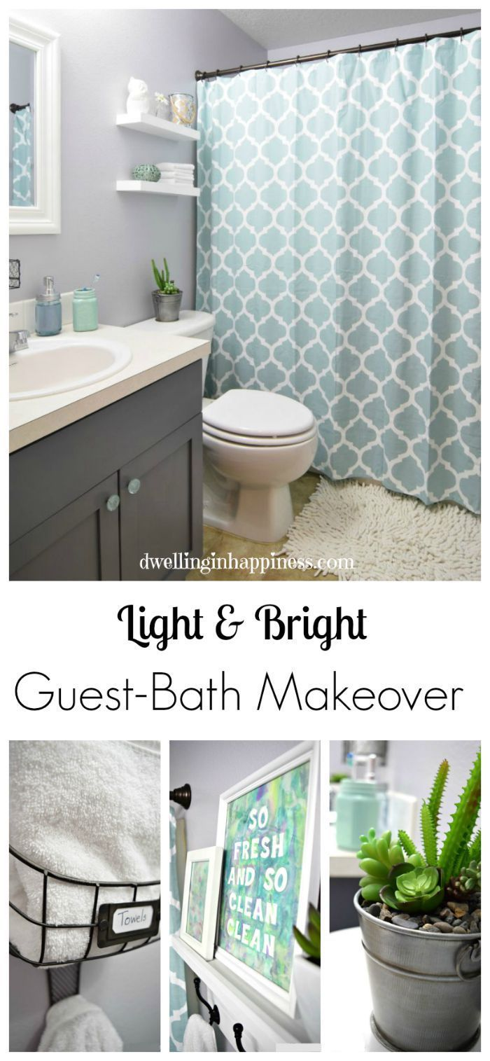 Shower Curtain For Boy And Girl Bathroom - Light bright guest bathroom makeover the reveal