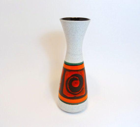 Vintage West German Pottery Dümler & Breiden Vase Retro Mid Century Modern Red Orange Green