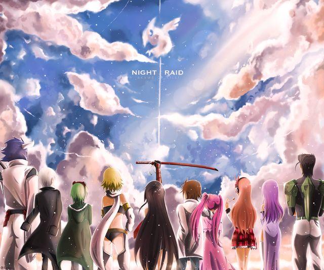 Akame Ga Kill! (Left to Right) Susanoo, Najenda, Lubbock, Leone, Akame, Tatsumi, Mine, Chelsea, Sheele, Bulat