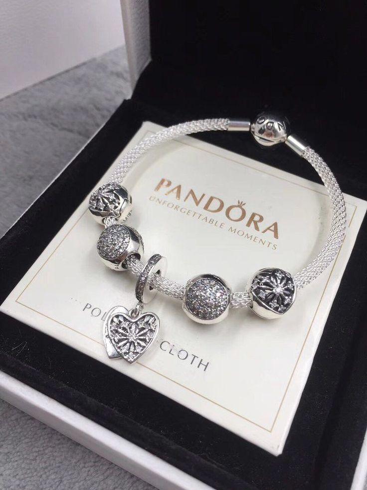 Pandora heart of winter mesh bracelet  SterlingSilverCharms d9ff4918a5ce0