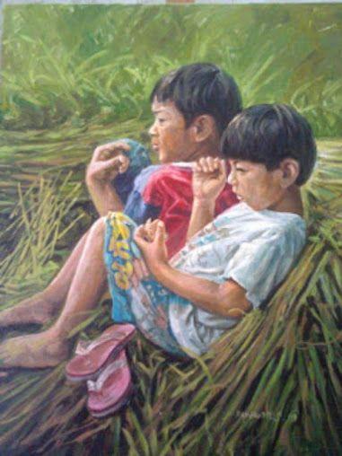 (Painting by Wawan Setiawan Asep from Indonesia titled Kakak adik)