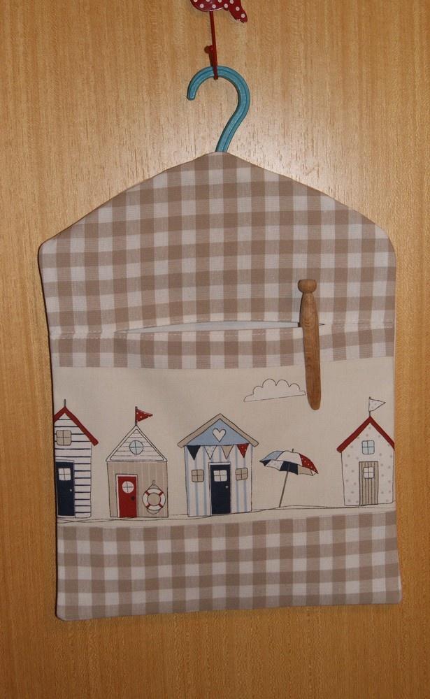 Hand Made. Lined, Beach Huts Peg Bag £7.75