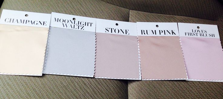 Bridesmaid dress colors: rum pink, loves first blush, moonlight waltz, stone, and champagne (from Alfred Angelo)