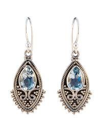 Balinese zilveren oorbellen met blauw topaas - Zilveren Sieraden Online