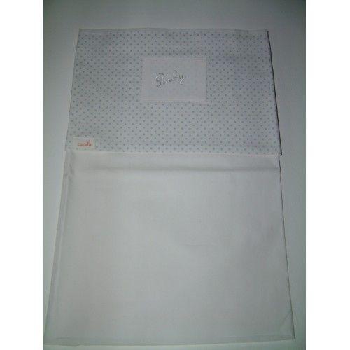 Wieglaken wit met blauwe stippen en tekst baby.Matriaal: Het lakentje voor de wieg is van Poplin 100% katoen en is 75 cm breed en 100 cm lang. Poplin katoen is een luxere stof en voelt zijde zacht aan voor de baby.