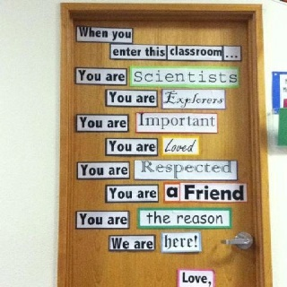 Classroom door, but for RELA. Use white paper to cover and make to look like notebook paper