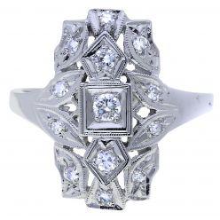 35947.14 White Gold Diamond Plaque Ring