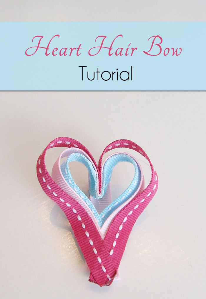 Heart Hair Bow Craft Tutorial for Valentine's Day: Valentine'S Day, Bows Crafts, Bows Tutorials, Ribbons Crafts, Heart Hair, Craft Tutorials, Hair Bows, Crafts Tutorials, Valentines Day Crafts