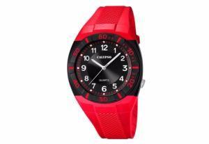 Montre Homme Calypso K5238/3 Bracelet Rouge Façon Silicone. Boitier Noir