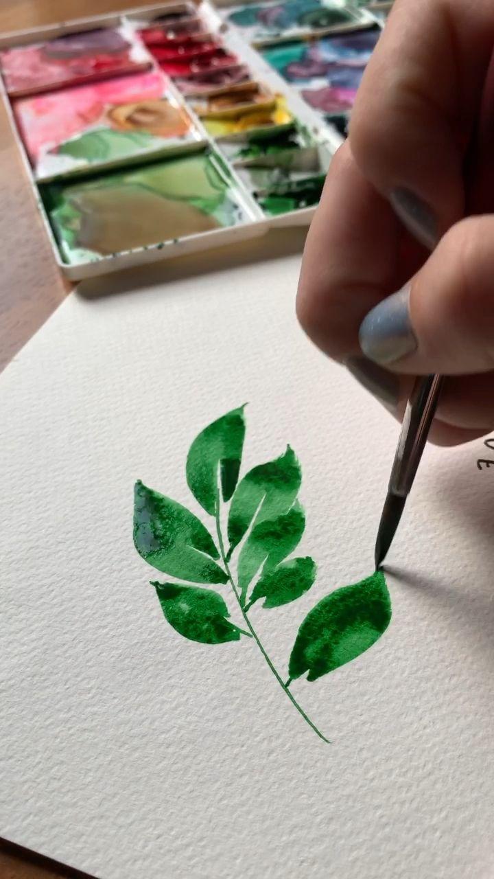 Loose watercolor leaves