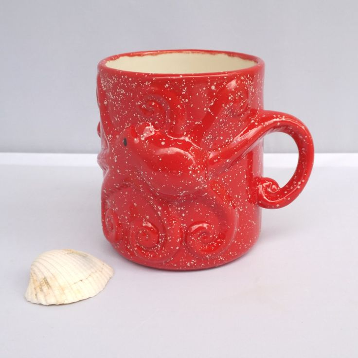 Red Octopus Squid Tentacles Mug Handmade Ceramic from my Charleston, SC Studio - pinned by pin4etsy.com