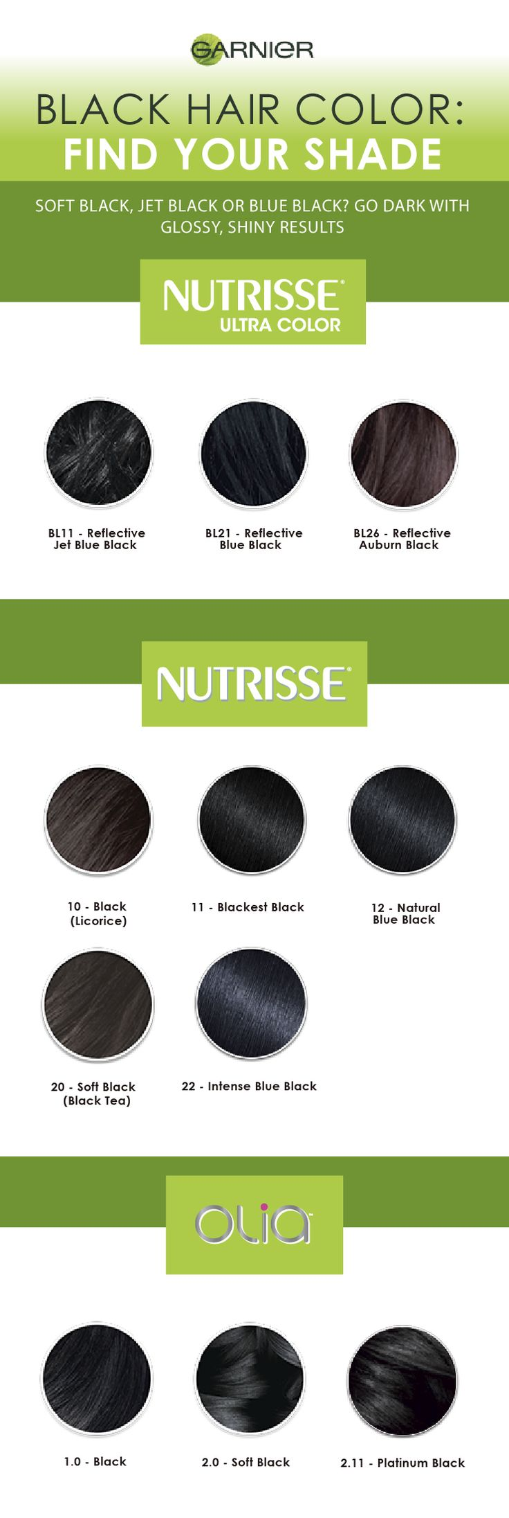 Soft black, jet black, or blue black? Our hair color black list features a comprehensive collection of the darkest shade so you can match new growth when touching up your roots, covering grays with natural-looking results, or updating your color altogether. Find your shade.