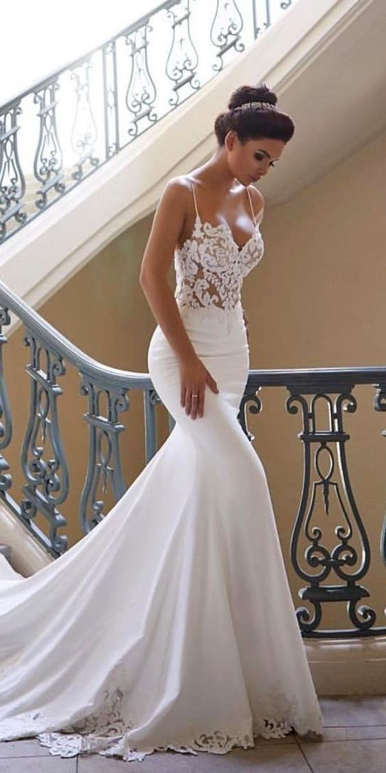 Charming Appliques Lace Mermaid WEDDING GOWNS with Straps, Attractive Sleeveless Bridal Dress Vestid