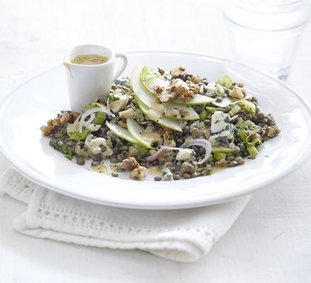 Puy lentils are healthy pulses that keep you fuller for longer - serve with Roquefort, Granny Smith apples, nuts and parsley