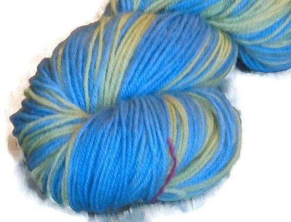 Self Striping Handdyed Falkland Wool DK Weight Yarn, 3-ply, Sky and Sun, Blue Wool Yarn, Yellow Wool Yarn, Hand Dyed Blue Yarn, Blue Yellow