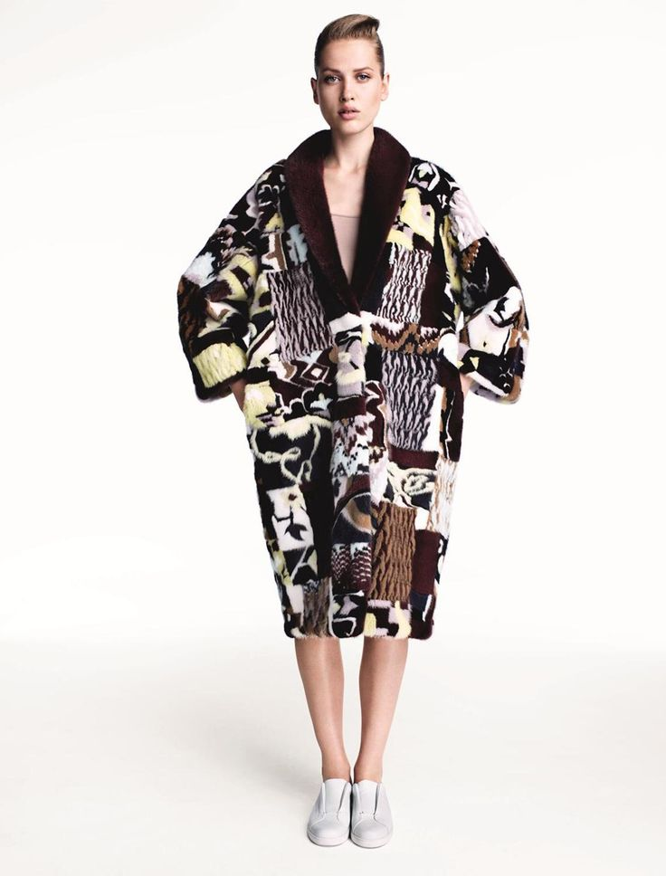 This patchwork fur coat is made by Kopenhagen Fur's own skilled furriers. It is created by 7 different fur techniques! The inspiration behind this coat is Kazakh national clothes, graphic art work by Caio Fonseca and Max Warsh and carpets from the Winter Palace in Saint Petersburg.