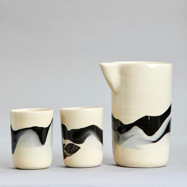 The Pebble Series Is Made From Marbled Black And White Stoneware Slips The Inside And Outside Are Clear Glazed The Carafe Ceramic Tumbler Pebbles Carafe Set