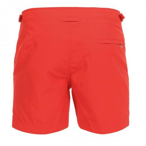 NYLON BOARDSHORTS WITH ADJUSTABLE SIDE TABS - Mid-lenght Bulldog nylon Boardshorts with two front pockets and a zippered back pocket, adjustable side straps with metal buckle, internal mesh, zip and button fly. #mrbeachwear #beachwear #swimshort #summer #beach #mens #fashion #orlebarbrown  #red