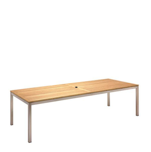 Kore Large Dining Table Electropolished Frame / Teak Top
