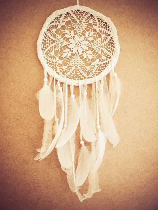 Dream Catcher - Iceflower - Unique Dream Catcher with White Handmade Crochet Web and White Feathers - Mobile, Home Decor, Decoration on Etsy, $48.00
