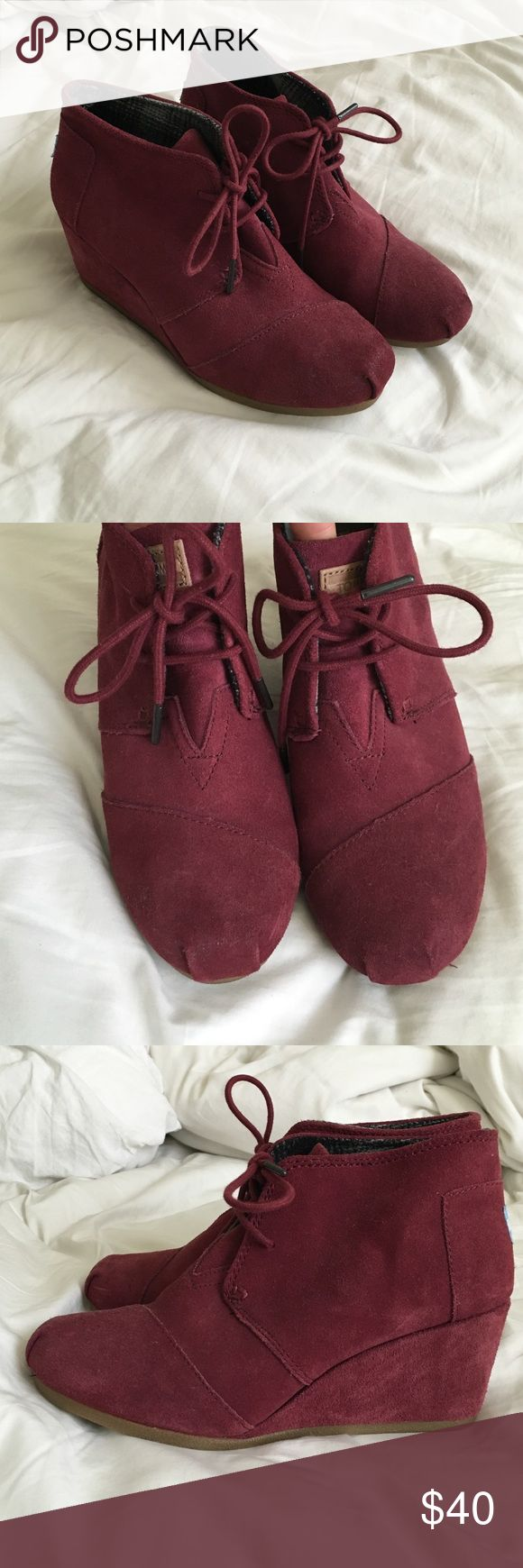 Women's tom wedges Worn once, extremely comfortable. In great condition! They are a burgundy maroon type color. TOMS Shoes Wedges