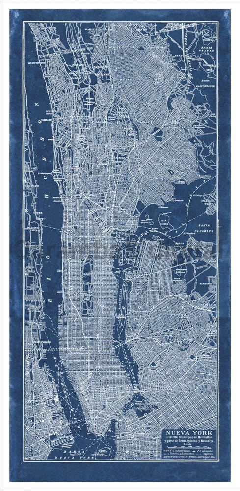 New York City Vintage Map Blueprint Style