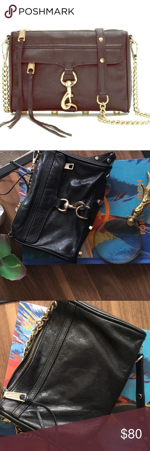 Rebecca Minkoff Black Leather Crossbody Purse Rebecca Minkoff Black Leather Crossbody purse with gold embellishments. *Authentic* Rebecca Minkoff Bags Crossbody Bags